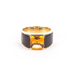 Pre-Owned Michael Bondanza Citrine and Black Onyx Ring