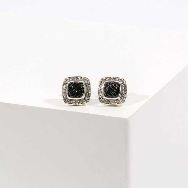 Pre-Owned David Yurman Black Onyx and Diamond Albion Stud Earrings