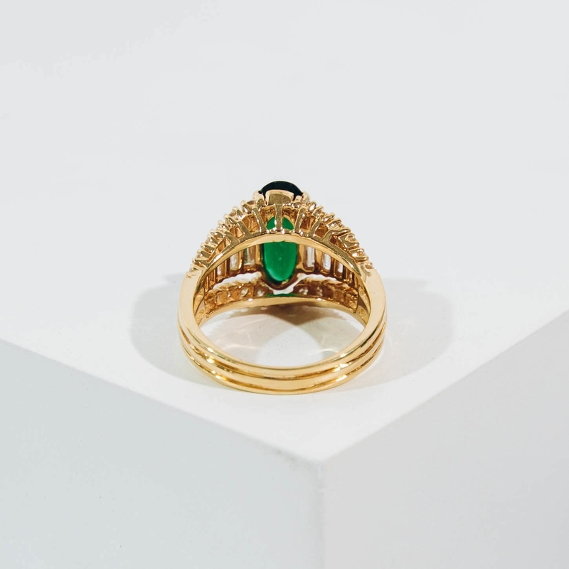 Pre-Owned Green Garnet and Diamond Ring
