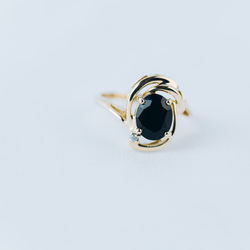 Pre-Owned Black Onyx and Diamond Ring