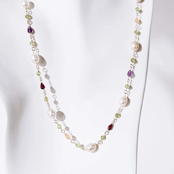 Pre-Owned Pearl and Mixed Gemstone Necklace