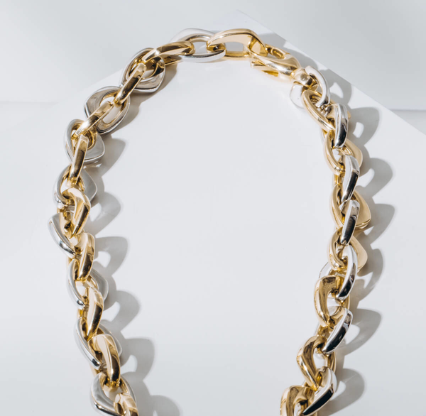 PRE-OWNED BEL-ORO GEOMETRIC LINK NECKLACE