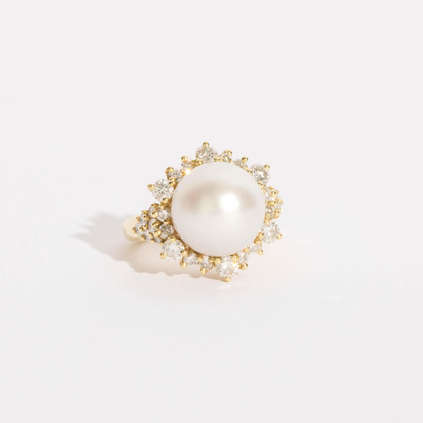 Pre-Owned Akoya Pearl and Diamond Ring