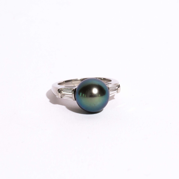 Pre-Owned Tahitian Pearl and Diamond Ring