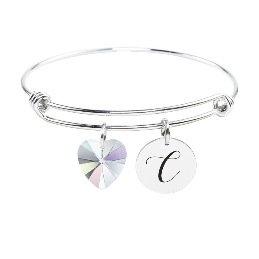 Personalised Initial Bangle Made With Crystals From Swarovski B