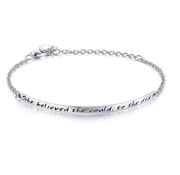 She Believed Message Bracelet