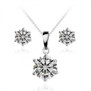 Swarovski Elements Solitaire Necklace and Earrings Set