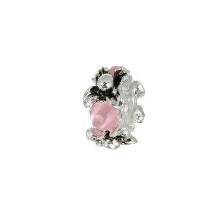 Silver and Pink Crystal Spacer Charm