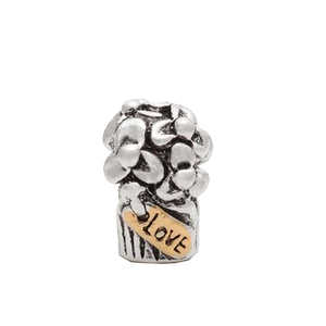 Silver & Gold Love Flowers Charm