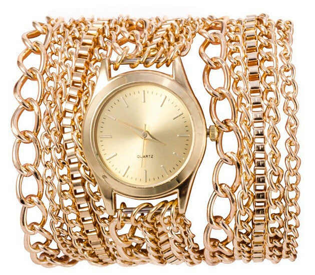Gold Overlay Chain Watch