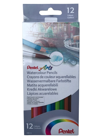 Pentel Arts Watercolour Pencils - 12 Colours