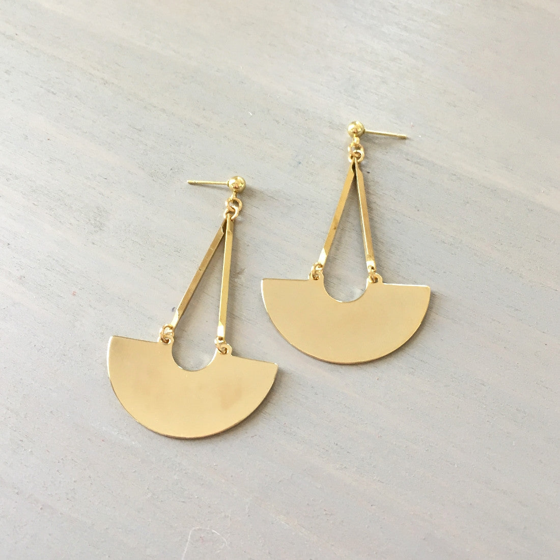 Crescent Geometric Dangle Earrings