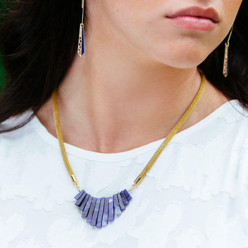 Blue Sodalite Graduated Stone Collar Mesh Chain Gold Necklace