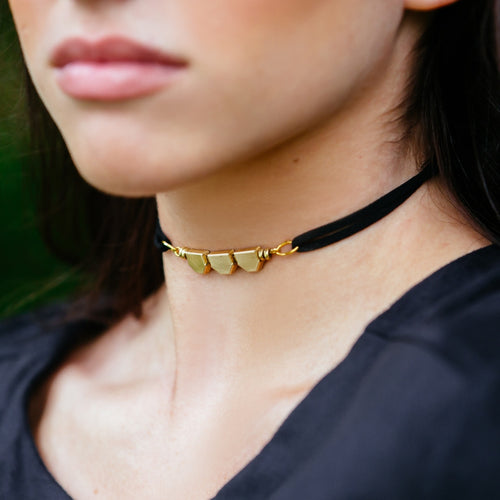 Suede and Vintage Brass Chain Choker Necklace