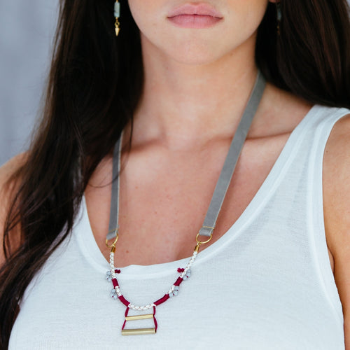 Contrast Beaded Marsala Long Leather Necklace