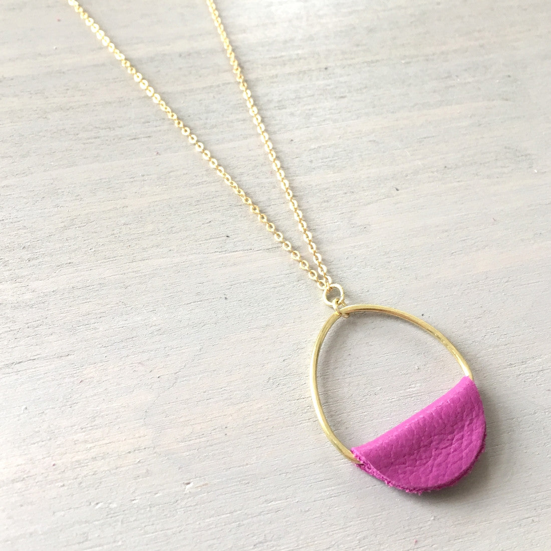 Fuchsia Leather Circle Drop Necklace
