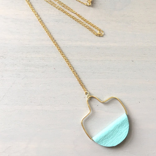 Light Turquoise Leather Geometric Drop Necklace