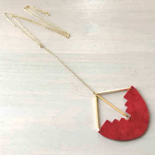 Red Suede Geometric Y-Necklace