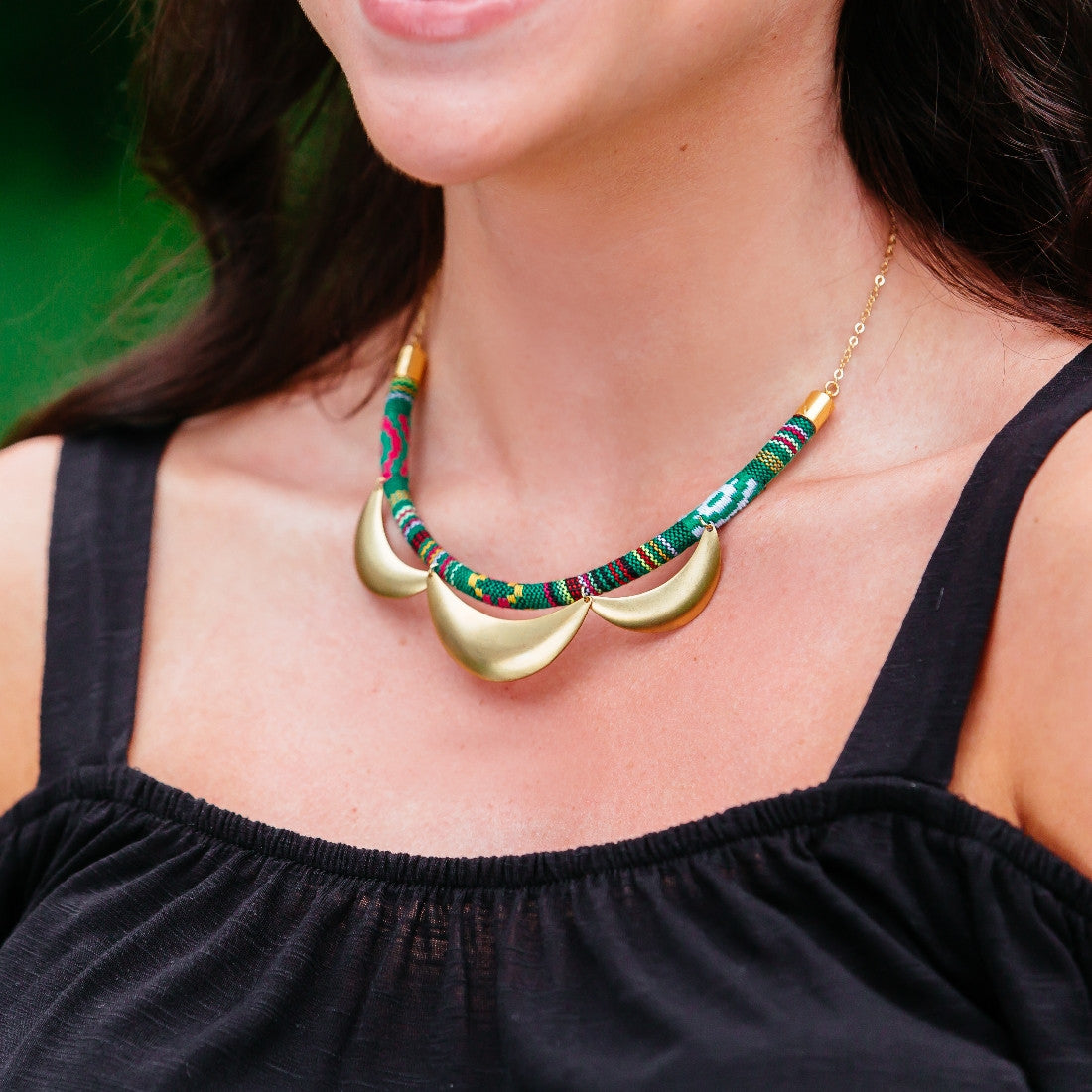 Scalloped and Tribal Embroidered Cord Necklace