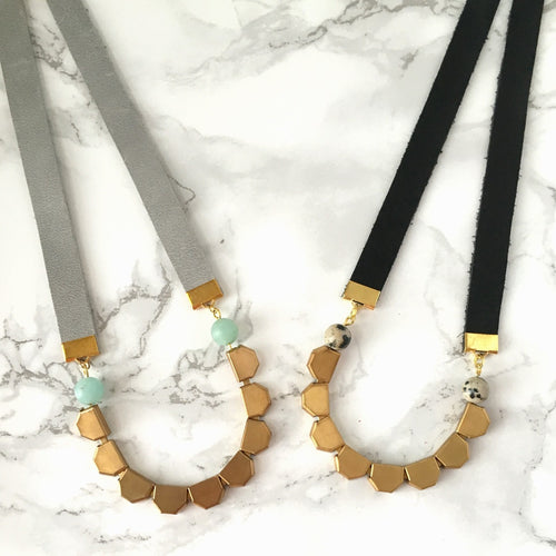 Geometric Brass and Leather Necklace