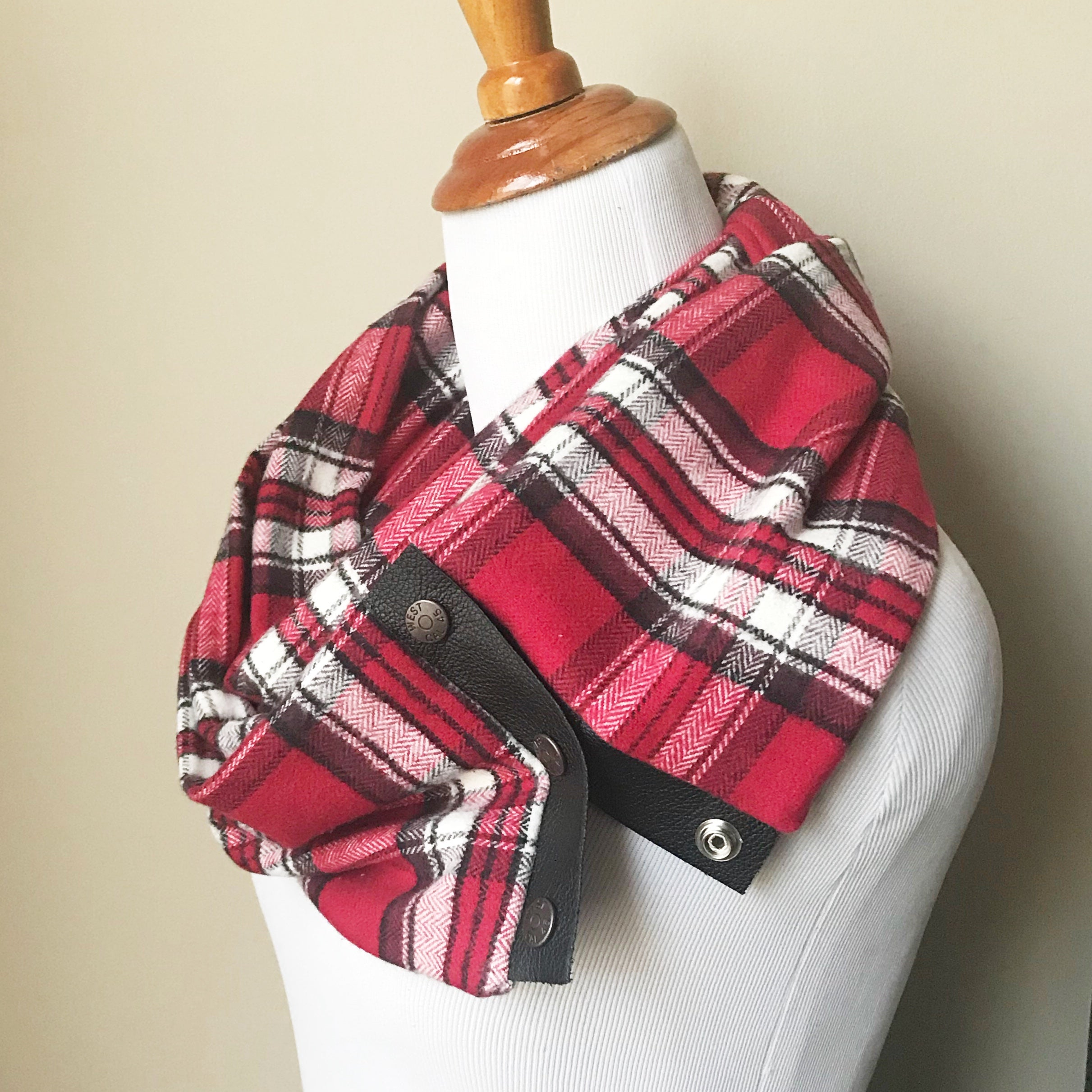 Red Herringbone Plaid Scarf with Leather Trim and Snaps