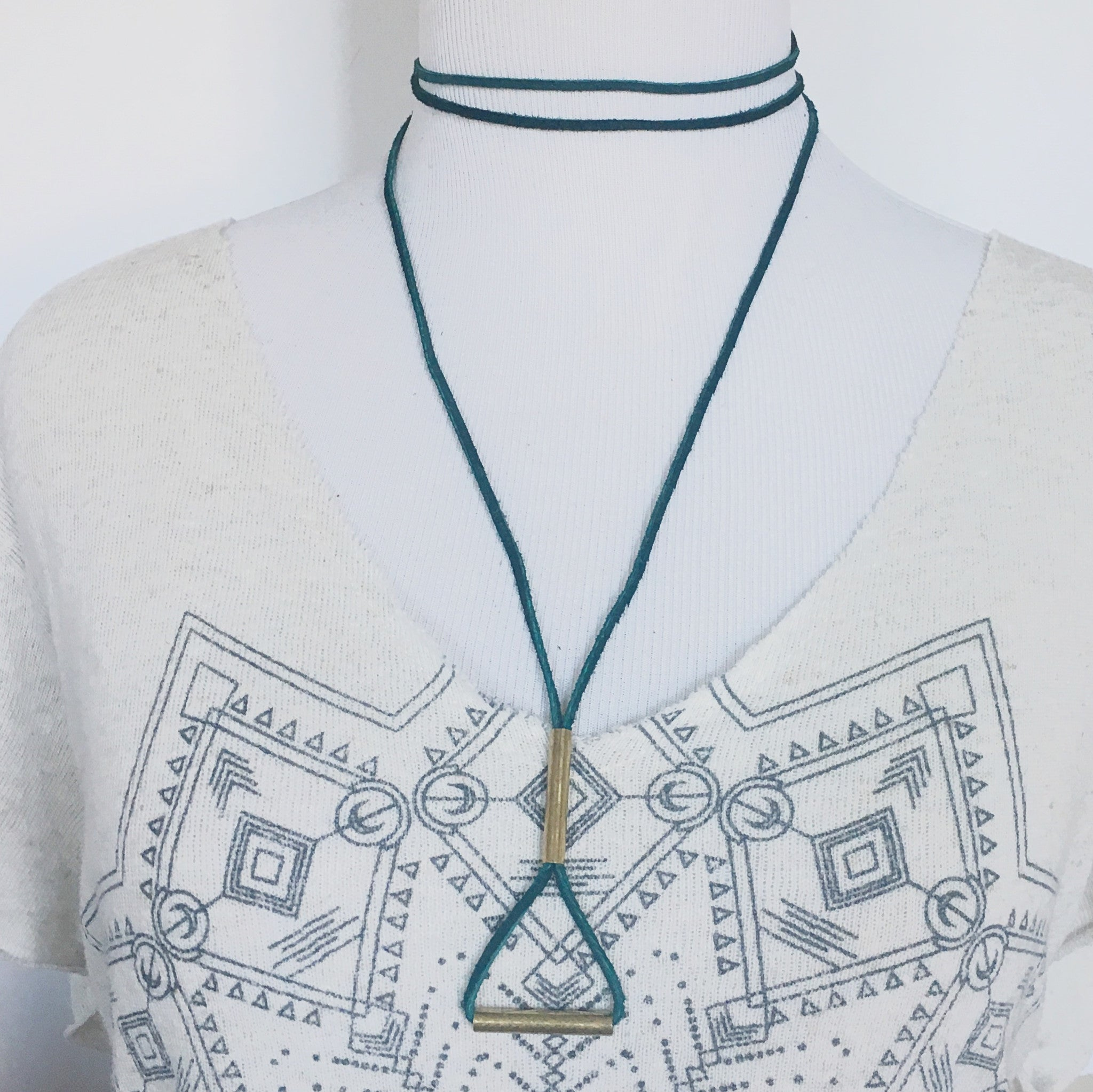 Long Suede Choker Style Necklace