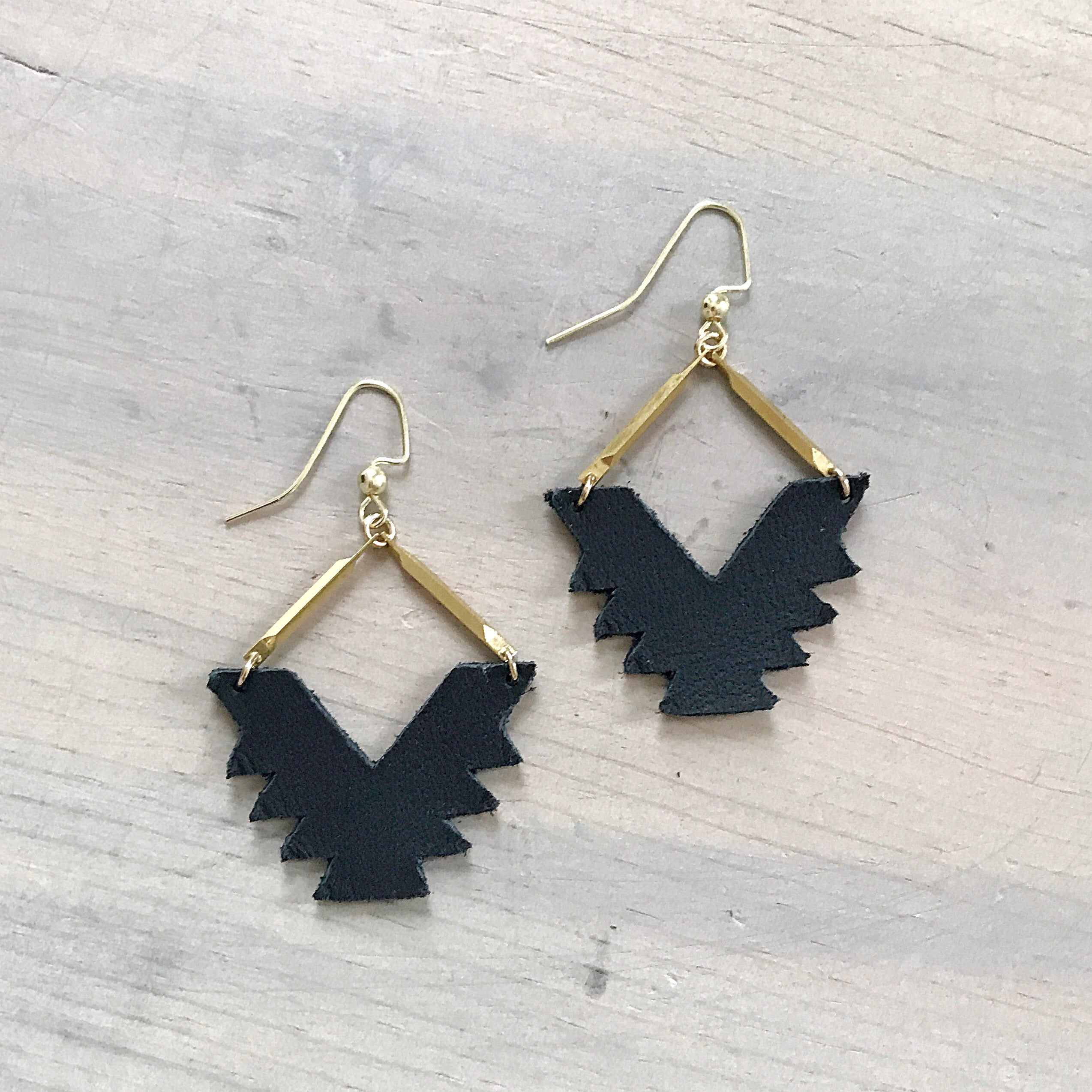 Black Leather Tribal Dangle Earrings