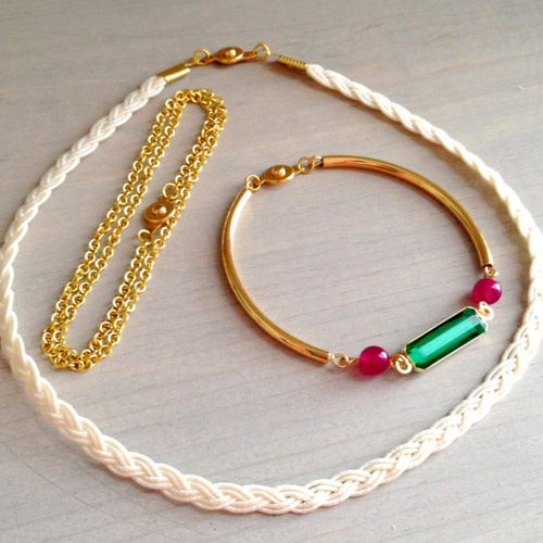 Emerald & Ivory Braided Cord Convertible Bracelet Set
