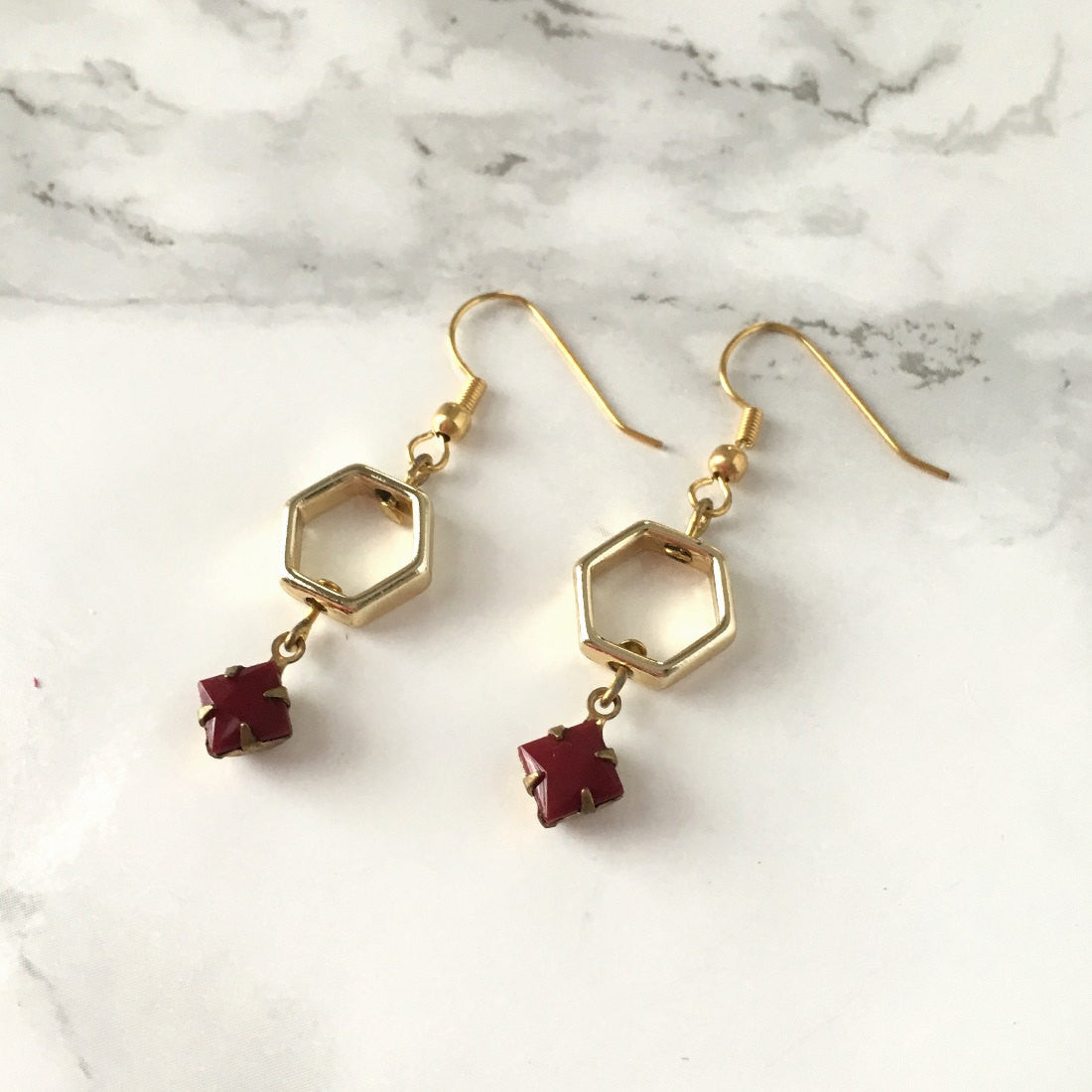 Burgundy Honeycomb Drop Earrings