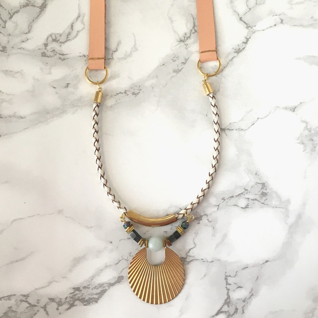 Peach Art Deco Long Leather Necklace