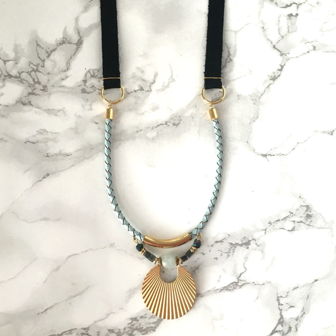 Black & Mint Art Deco Long Leather Necklace
