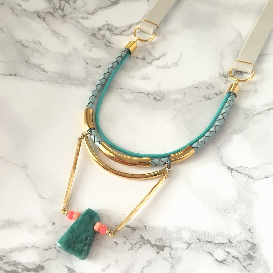 Amazonite Dangle Long Leather Necklace