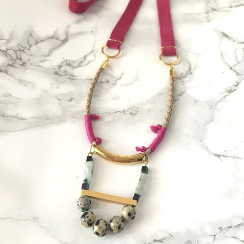 Jasper Long Leather Necklace