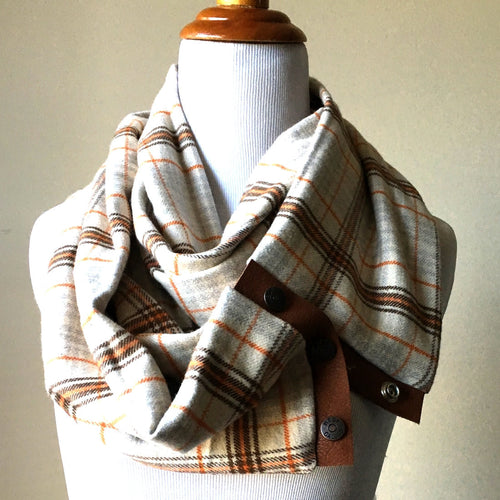 Ivory and Orange Plaid Scarf with Cognac Leather Trim and Snaps