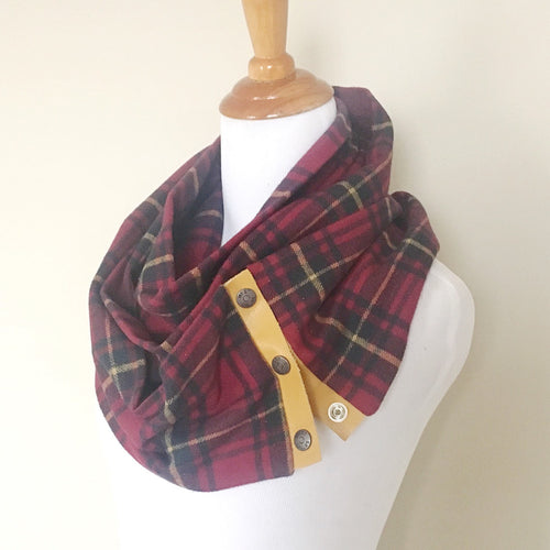 Burgundy & Navy Plaid Scarf with Mustard Yellow Leather Trim and Snaps