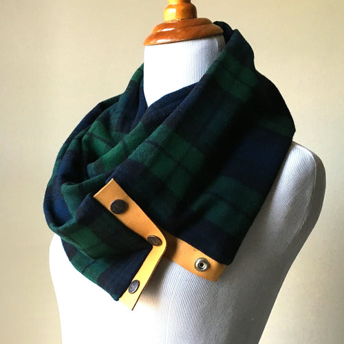 Green and Navy Plaid Scarf with Mustard Yellow Leather Trim and Snaps