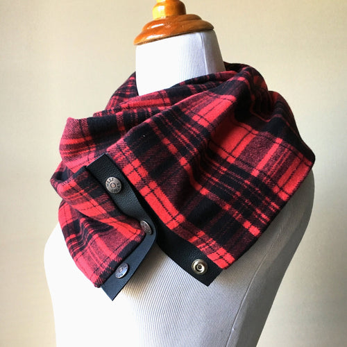 Red and Black Plaid Scarf with Black Leather Trim and Snaps