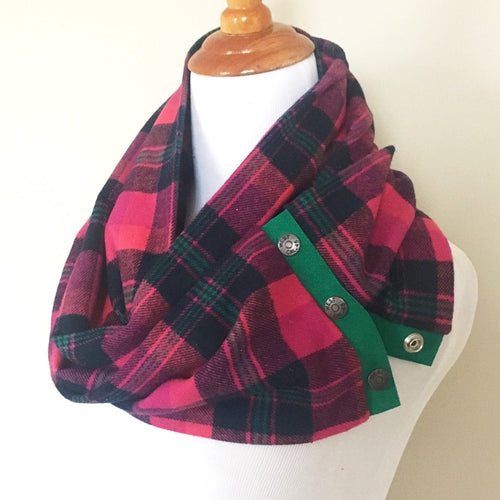 Fuchsia Plaid Scarf with Kelly Green Suede Trim and Snaps