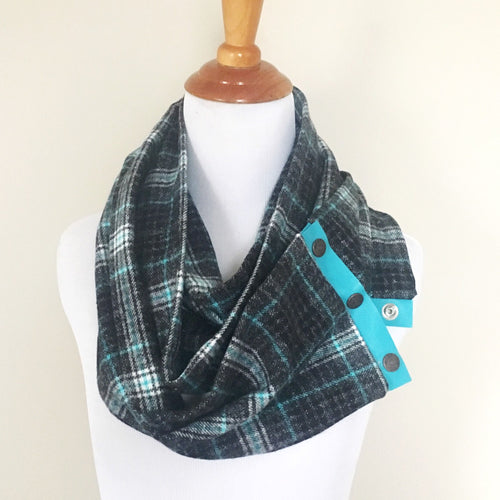 Black & Turquoise Plaid Scarf with Turquoise Leather Trim and Snaps
