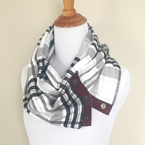 White & Black Plaid Scarf with Burgundy Leather Trim and Snaps
