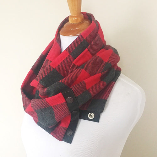 Scarlet Red and Grey Plaid Scarf with Black Leather Trim and Snaps