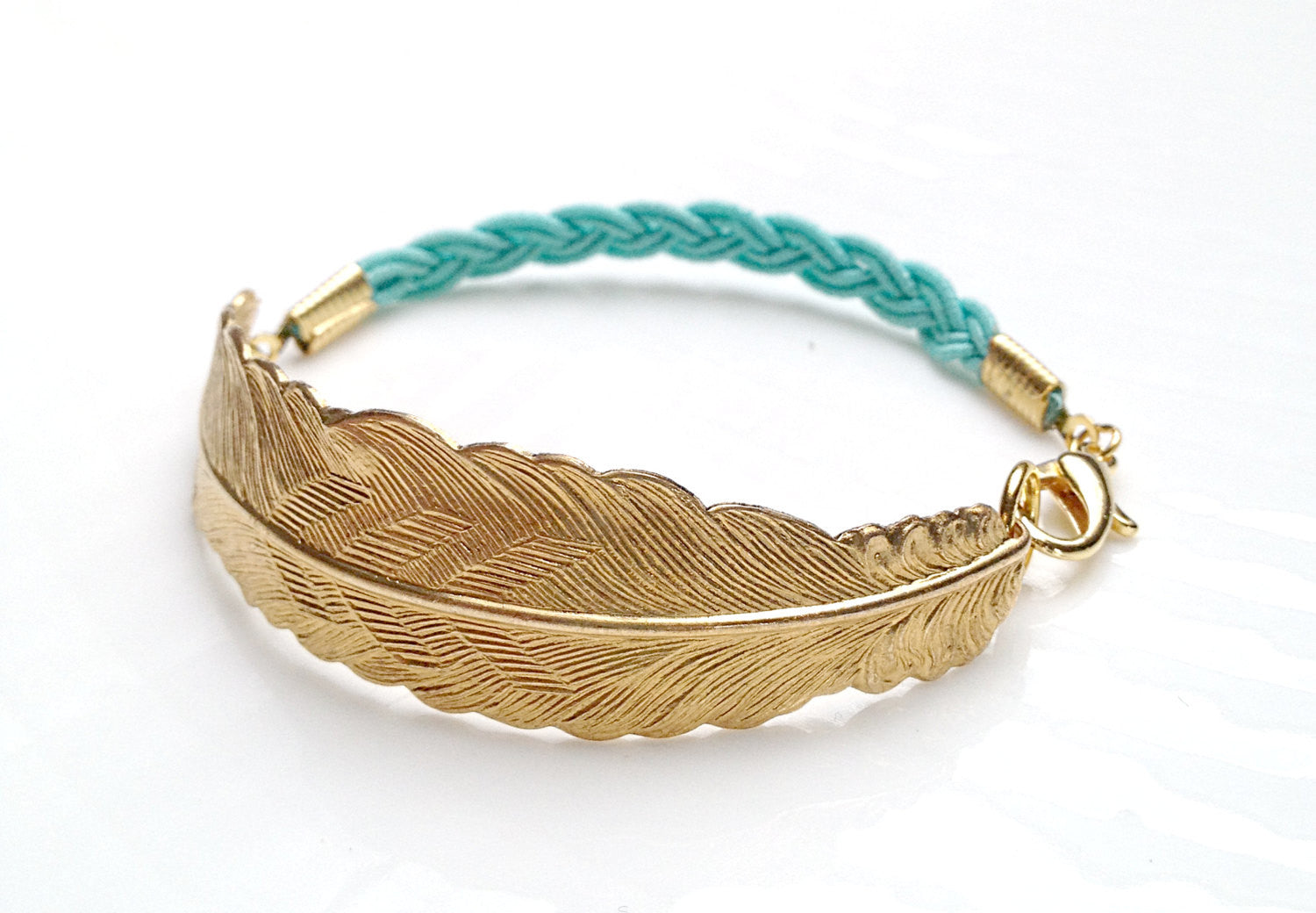Textured Gold Feather and Turquoise Cord Bracelet