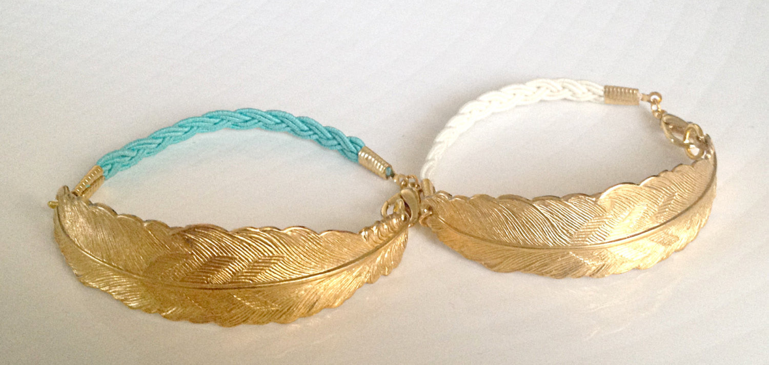 Textured Gold Feather and Ivory Cord Bracelet