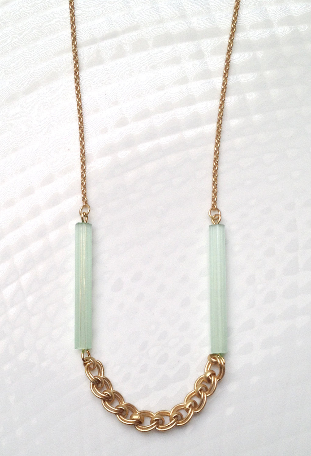 Mint Vintage Bead & Mixed Chain Necklace