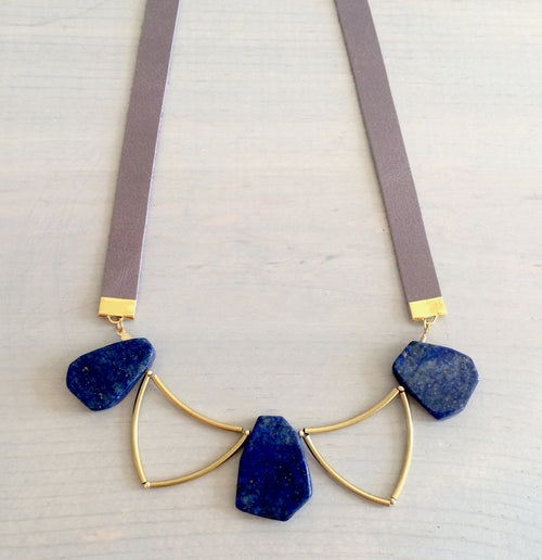 Lapis Lazuli and Leather Statement Necklace