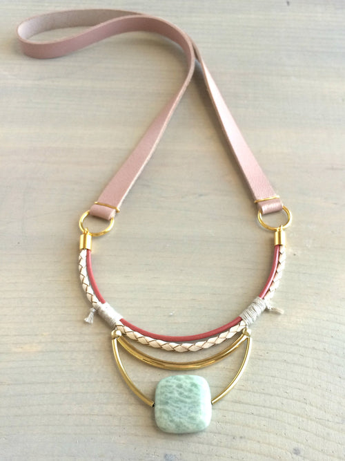 Amazonite and Leather Necklace