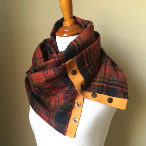Rust Plaid Infinity Blanket Leather Snap Scarf