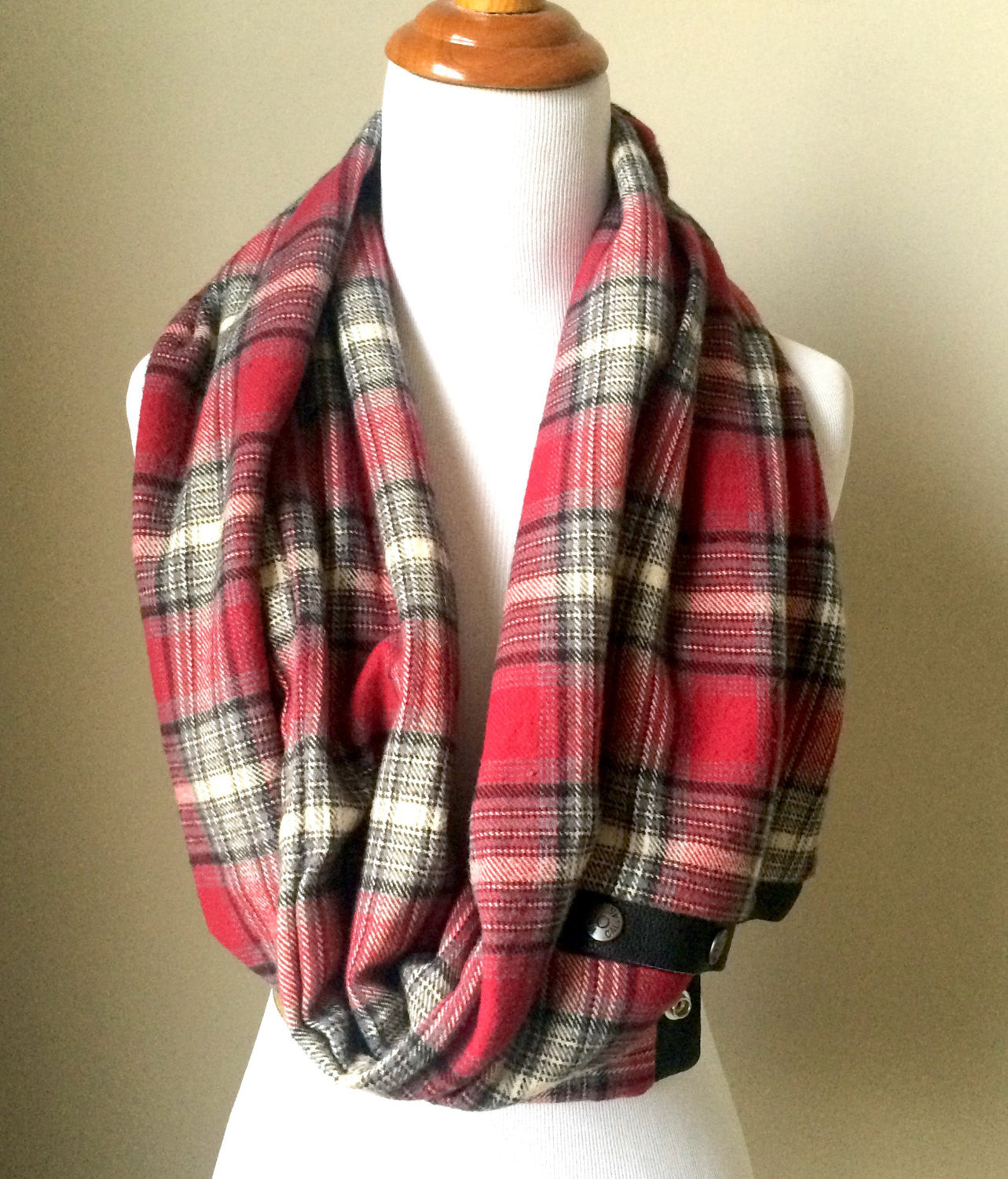 Scarlet/Grey Plaid Infinity Blanket Leather Snap Scarf