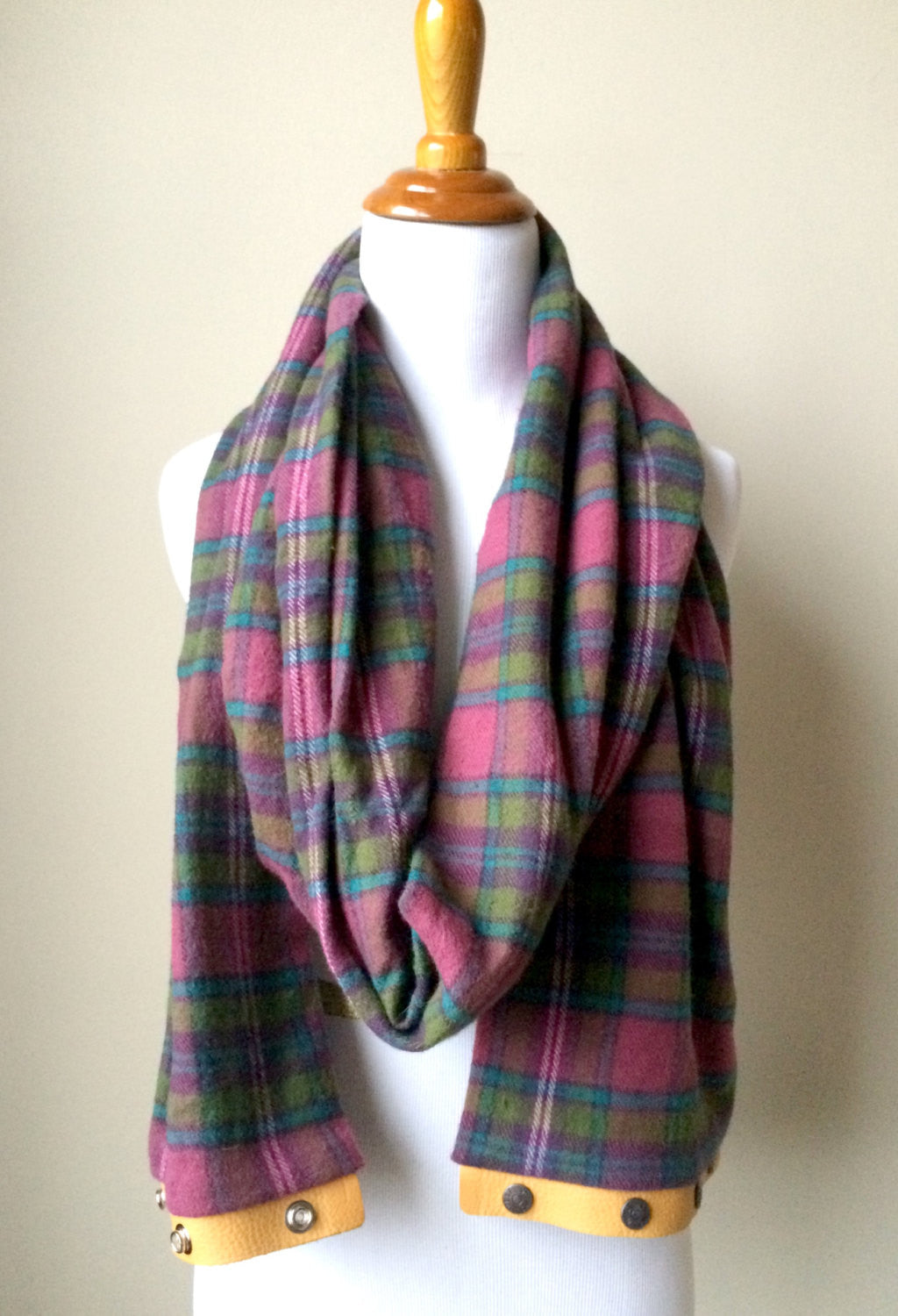 Pink Turquoise Plaid Blanket Infinity Scarf