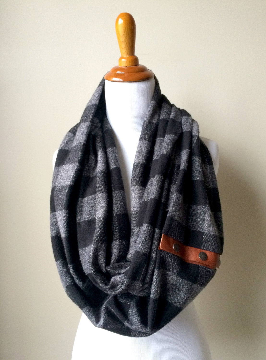Grey and Black Buffalo Check Plaid Blanket Infinity Scarf